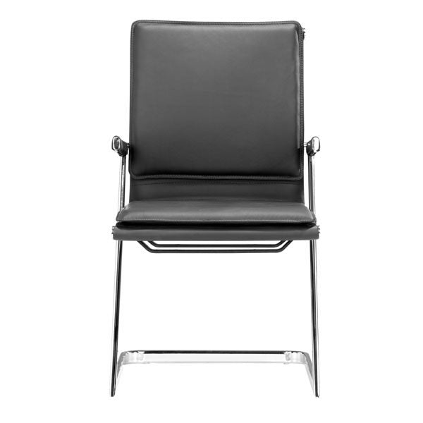 "HomeRoots Office 19"" X 22"" X 35"" 2 Pcs Black Leatherette Conference Chair"