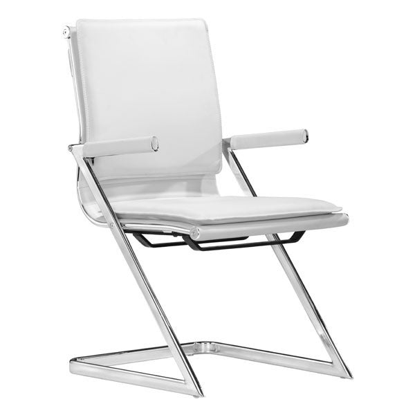 "HomeRoots Office 19"" X 22"" X 35"" 2 Pcs White Leatherette Conference Chair"