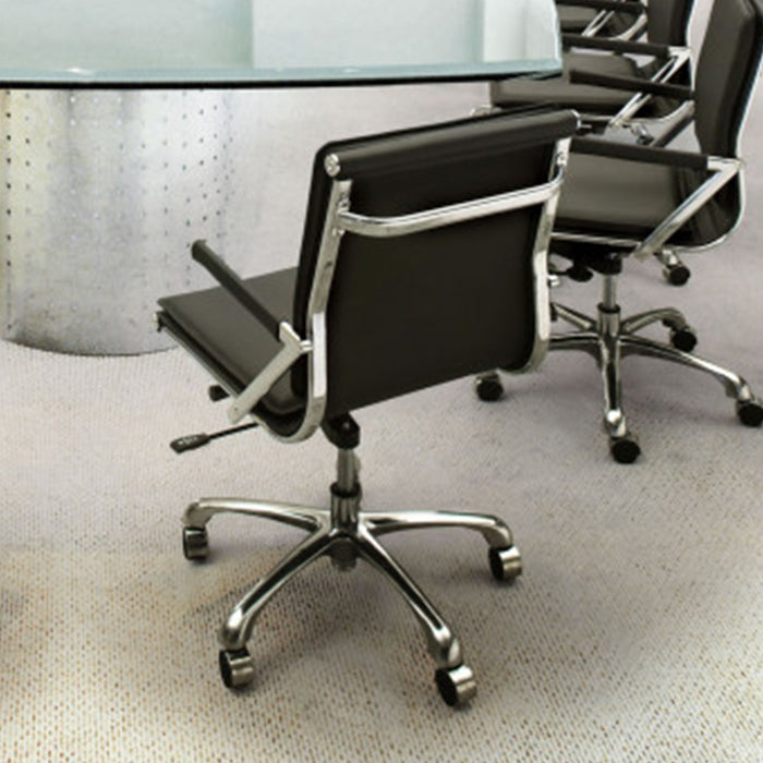 "HomeRoots Office 19"" X 24"" X 39.5"" Black Leatherette Office Chair"