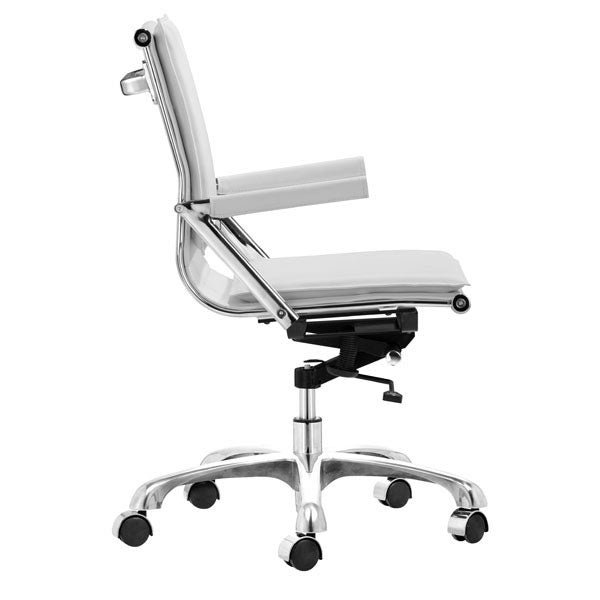 "HomeRoots Office 19"" X 24"" X 39.5"" White Leatherette Office Chair"