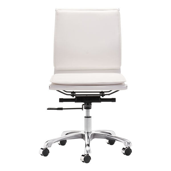 "HomeRoots Office 23"" X 23"" X 40"" White Leatherette Armless Office Chair"