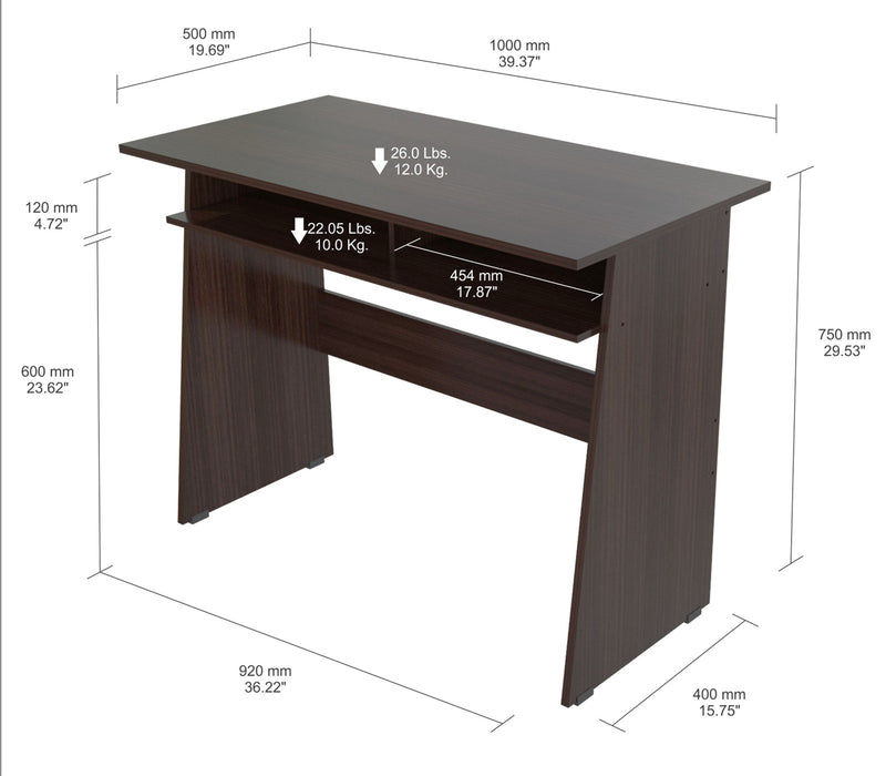 "HomeRoots Office 29.5"" Elegant Espresso Melamine & Engineered Wood Writing Desk with a Storage Area"