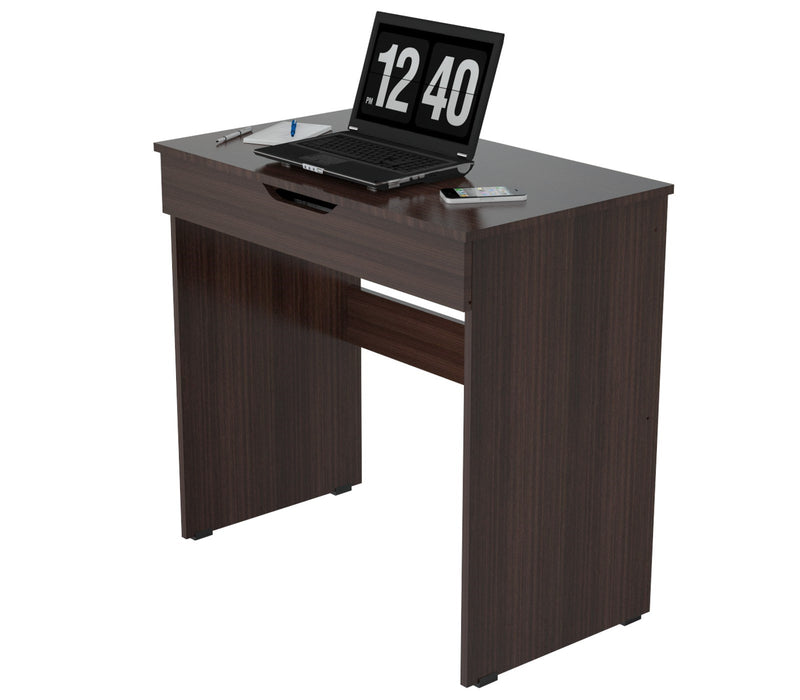 "HomeRoots Office 29.7"" Classy Espresso Melamine and Engineered Wood Writing Desk with a Drawer"