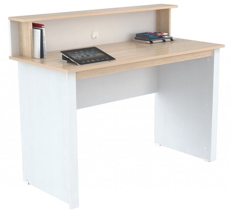 "HomeRoots Office 37.4"" White Melamine and Engineered Wood Writing Desk"