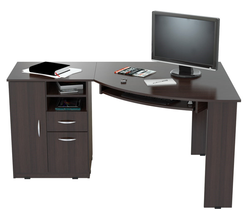 "HomeRoots Office 29.5"" Espresso Melamine and Engineered Wood L-Shaped Computer Work Center"