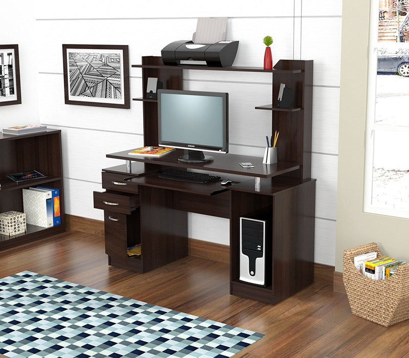 "HomeRoots Office 53.4"" Espresso Melamine and Engineered Wood Computer Desk with Hutch"