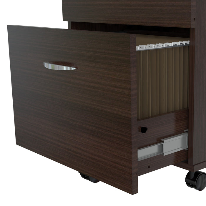 "HomeRoots Office 27.6"" Espresso Melamine and Engineered Wood File Cabinet with Two Drawers"