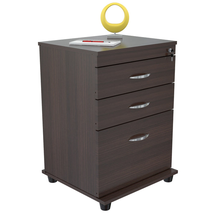 "HomeRoots Office 26.8"" Espresso Melamine and Engineered Wood File Cabinet with 3 Drawers"