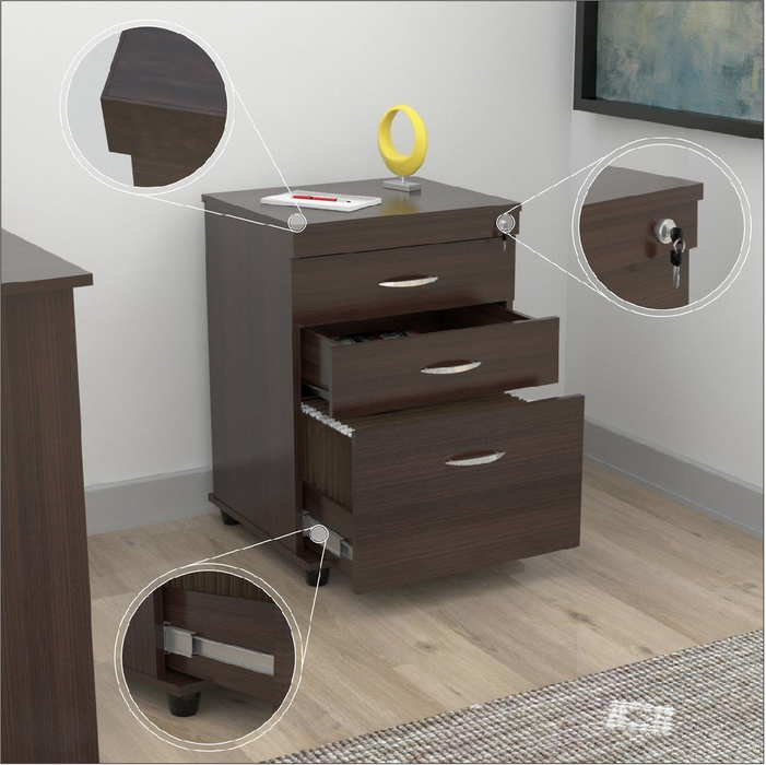 "HomeRoots Office 40.2"" Espresso Melamine and Engineered Wood File Cabinet with 3 Drawers"