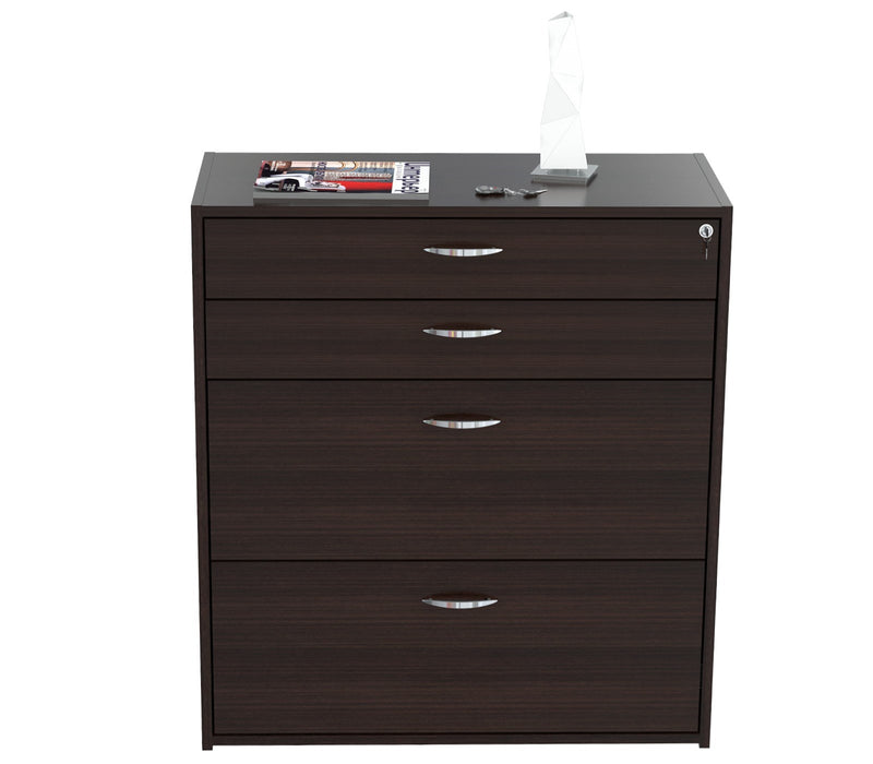 "HomeRoots Office 38.7"" Espresso Melamine and Engineered Wood Filing Cabinet with 4 Drawers"