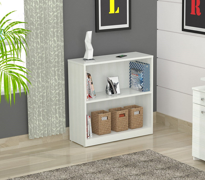 "HomeRoots Office 31.5"" Lacrina-White Melamine and Engineered Wood Bookcase"