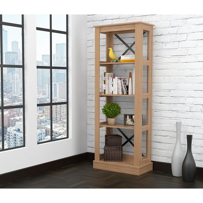 "HomeRoots Office 70.9"" Brown Melamine and Engineered Wood Bookcase"