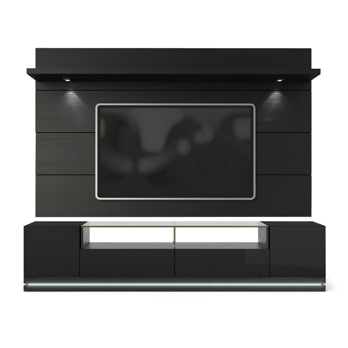 HomeRoots Office Black Gloss TV Stand and Floating Wall TV Panel with LED Lights