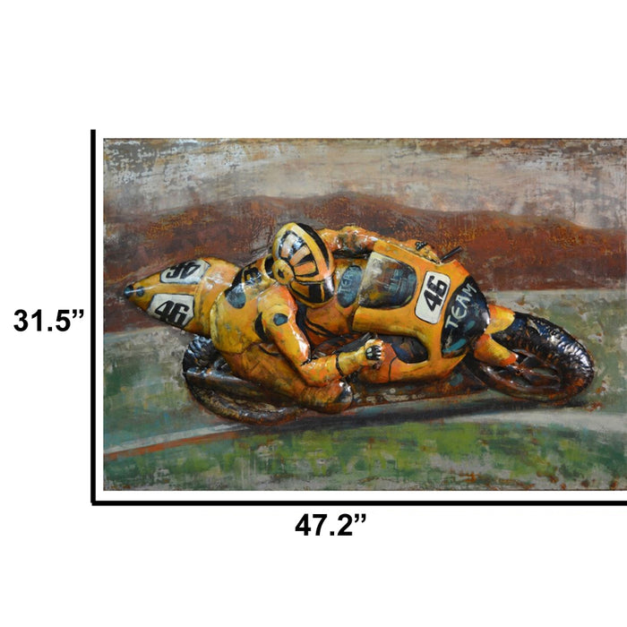 HomeRoots Team 46 Yellow Sports Bike Iron Wall decor