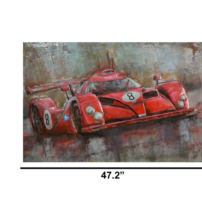 HomeRoots Red Number 8 Sport Car Wall decor in Iron
