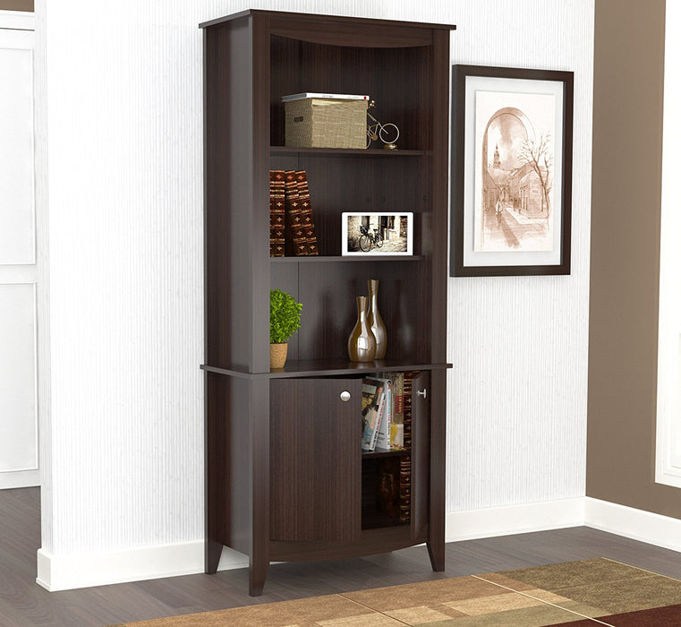 "HomeRoots Office 70.9"" Classic Espresso Melamine and Engineered Wood Bookcase"