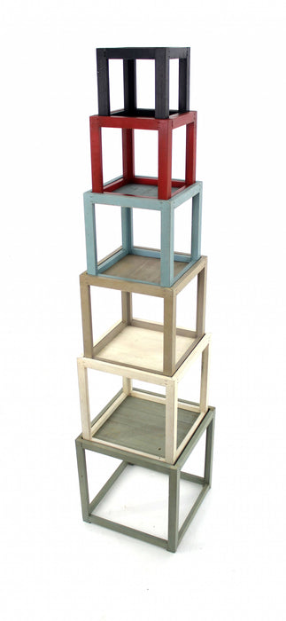"HomeRoots Office 16.5"" x 16.5"" x 71"" Multi-Color, 6 Layer, Rustic Tower-Like, Wooden - Corner Shelf"