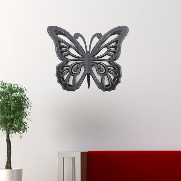 "HomeRoots 18.5"" x 23.25"" x 4.25"" Black, Rustic, Butterfly, Wooden - Wall Decor"