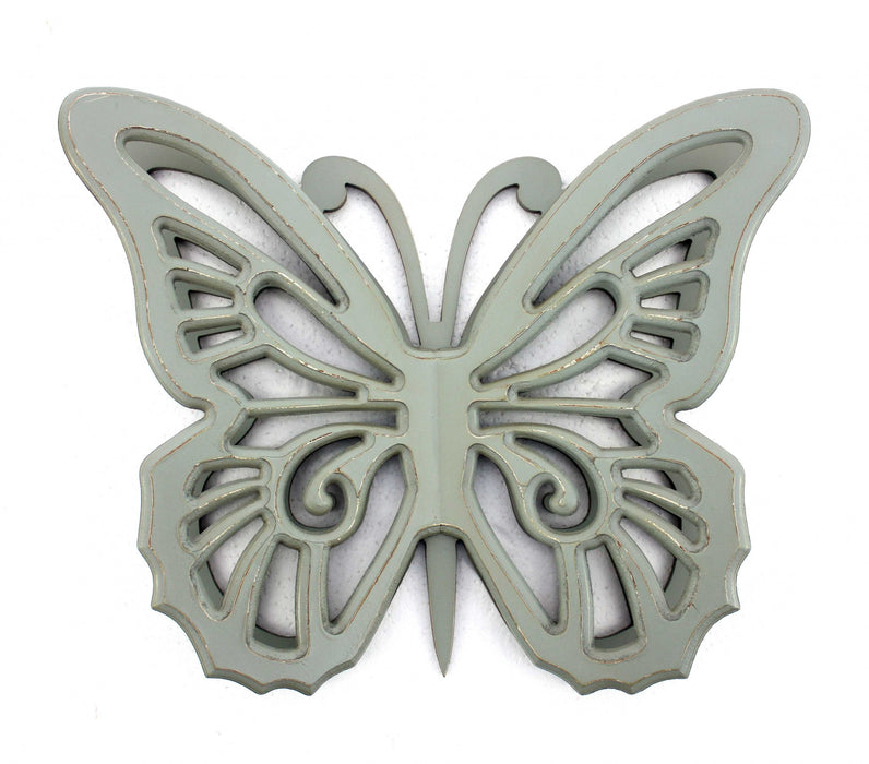 "HomeRoots 18.5"" x 23"" x 4"" Gray, Rustic Butterfly, Wooden - Wall Decor"