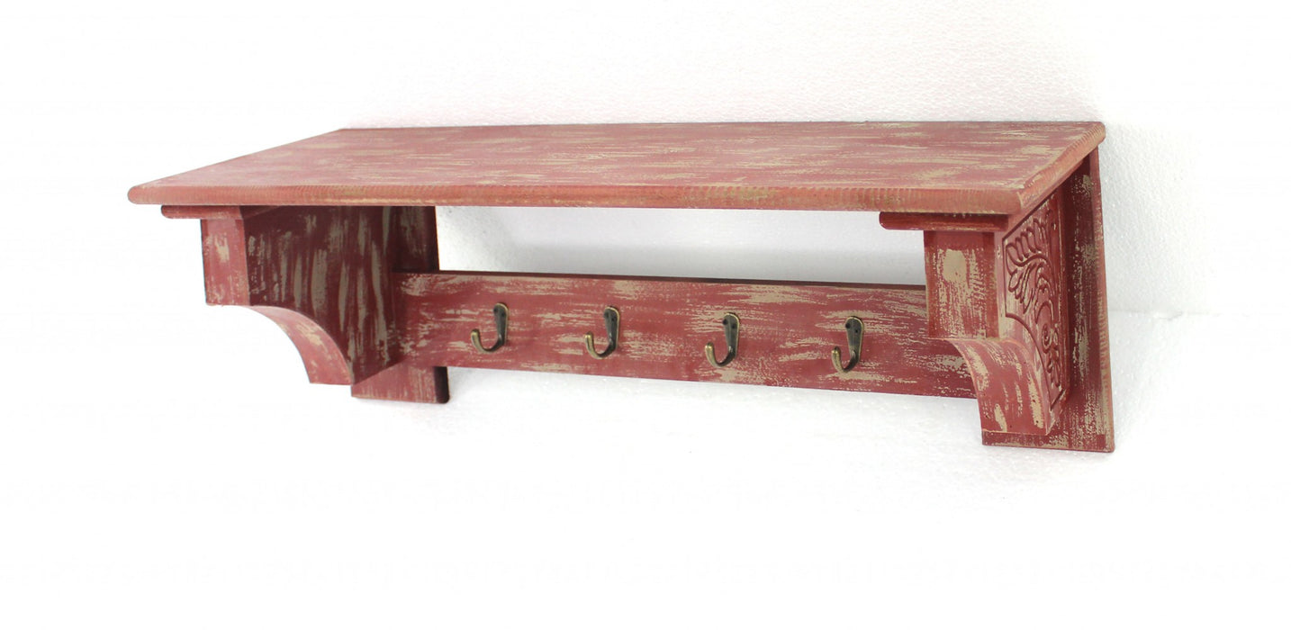 "HomeRoots Office 8"" x 30"" x 9.75"" Red, Vintage Wooden, 4 Metal Hooks - Wall Shelf"