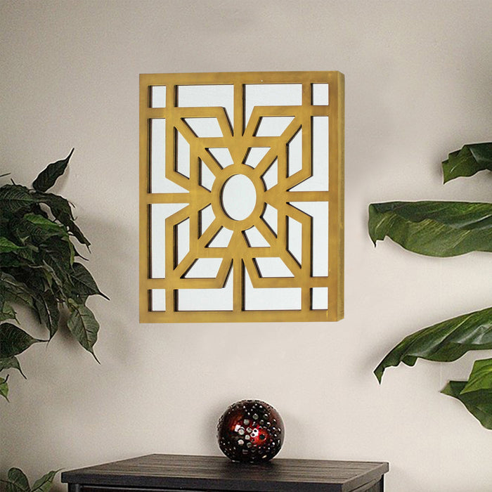 "HomeRoots 1.25"" x 23.25"" x 23.25"" Bright Gold, Mirrored, Wooden - Wall Decor"