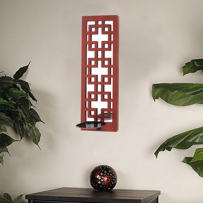 "HomeRoots 17"" x 5"" x 6"" Red, Vintage Wood, Lattice Mirror - Candle Holder Sconce"