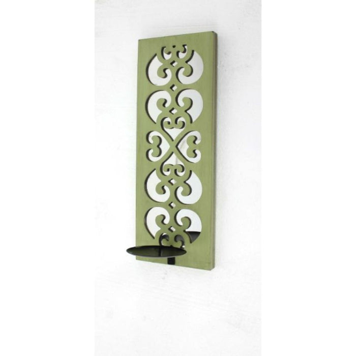 "HomeRoots 17"" x 5"" x 6"" Green, Wood, Mirror - Candle Holder Sconce"