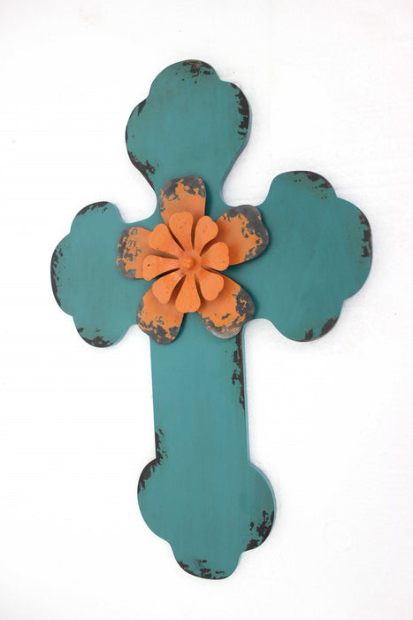 "HomeRoots 1"" x 15.75"" x 23.75"" Blue, Rustic Cross, Wooden - Wall Decor"