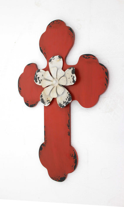 "HomeRoots 1"" x 15.75"" x 23.75"" Red, Rustic Cross Wooden - Wall Decor"