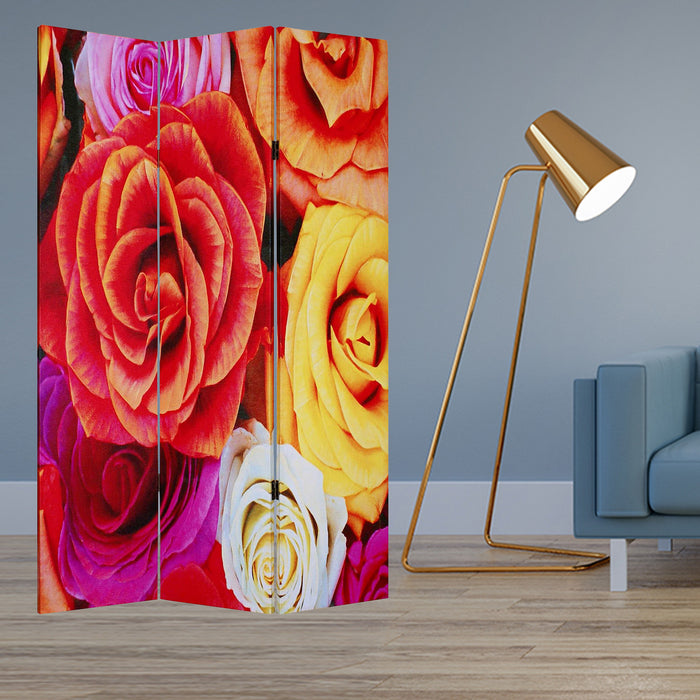"HomeRoots 1"" x 48"" x 72"" Multi-Color, Wood, Canvas, Daisy And Rose - Screen"