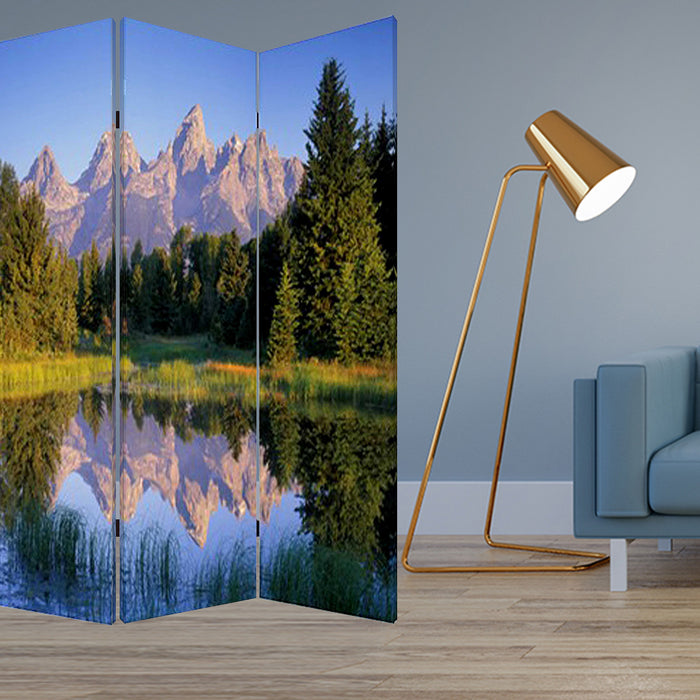 "HomeRoots 1"" x 48"" x 72"" Multi-Color, Wood, Canvas, Mountain Peaks - Screen"