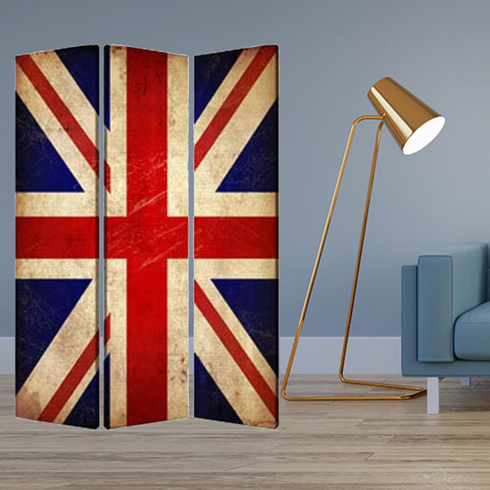 "HomeRoots 1"" x 48"" x 72"" Multi-Color, Wood, Canvas, Union Jack - Screen"