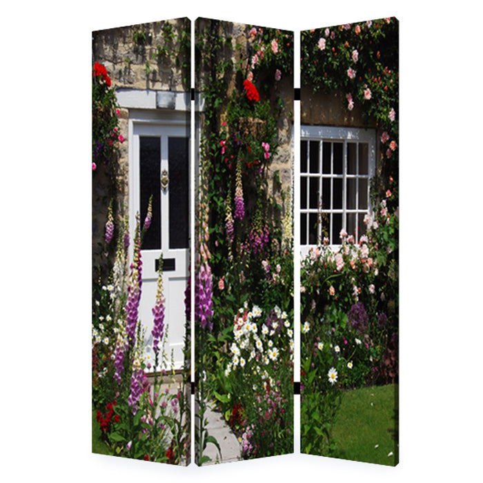 "HomeRoots 1"" x 48"" x 72"" Multi-Color, Wood, Canvas, English Garden - Screen"