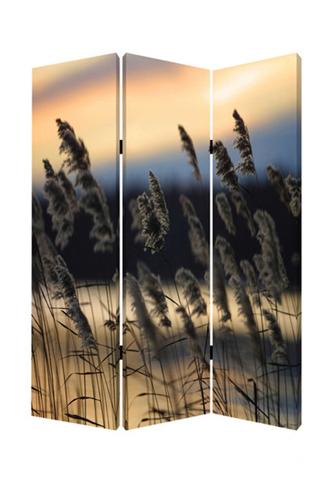 "HomeRoots 1"" x 48"" x 72"" Multi-Color, Wood, Canvas, Whisper Reed - Screen"