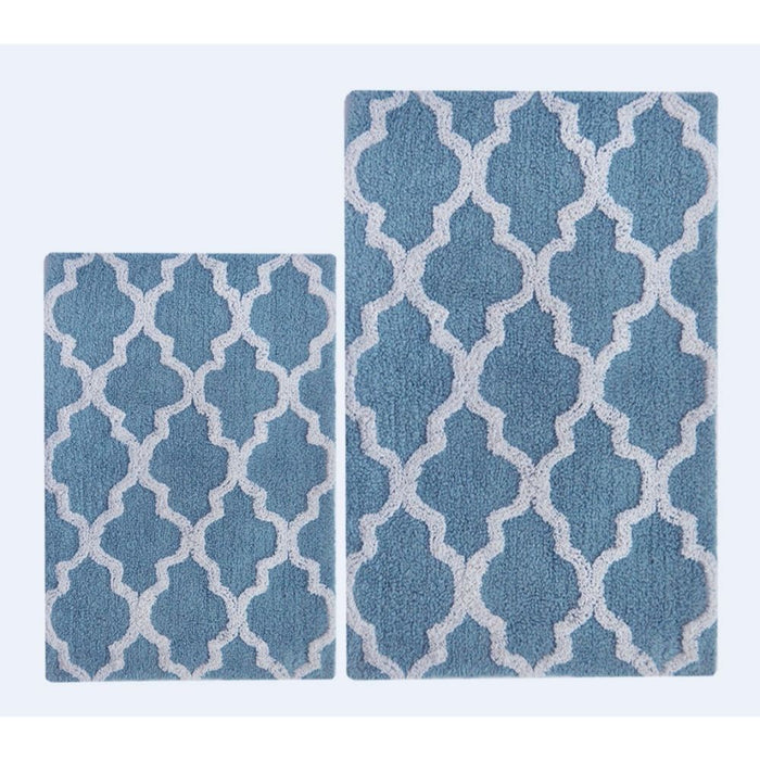 HomeRoots Smoke Blue/White  Damask 2 Pc Bath Set
