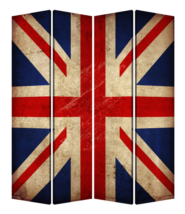 "HomeRoots 1"" x 84"" x 84"" Multi-Color, Wood, Canvas, Union Jack - Screen"