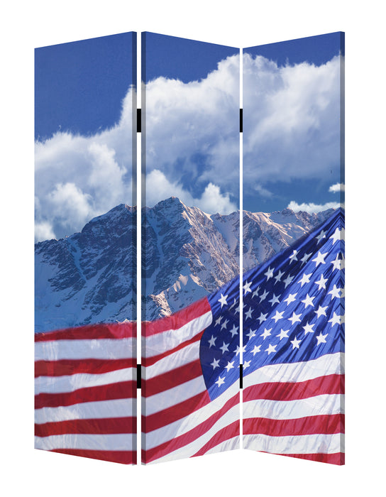 "HomeRoots 1"" x 48"" x 72"" Multi-Color, Wood, Canvas, Model American Flag  - Screen"