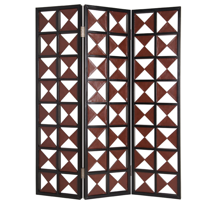 "HomeRoots 1"" x 59"" x 84"" Brown & White, Faux-leather - Screen"