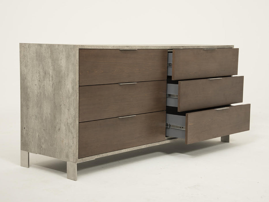 "HomeRoots Office 30"" Dark Walnut Veneer, Steel, and Concrete Dresser with 6 Drawers"