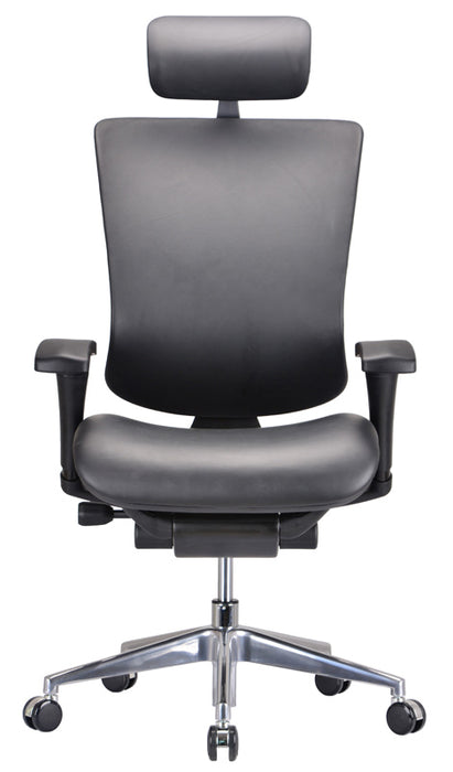 "HomeRoots Office 53"" Black Leather, Plastic, and Aluminum Office Chair"