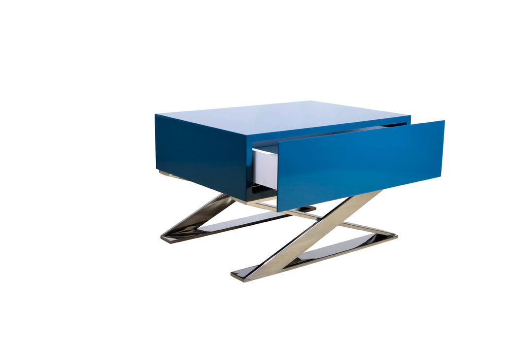 "HomeRoots Office 15"" Teal, MDF and Steel Nightstand"
