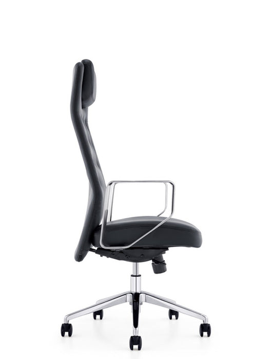"HomeRoots Office 51"" Black Plastic and Aluminum High-Back Office Chair"