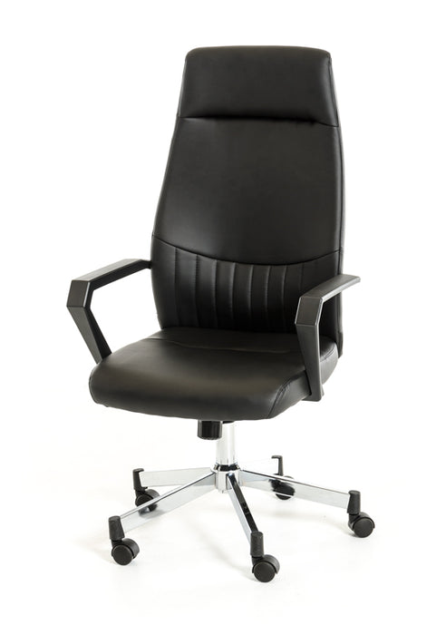 "HomeRoots Office 47"" Black Leatherette, Plastic, and Steel Office Chair"