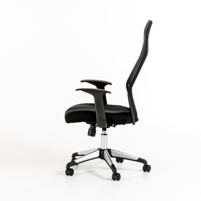 "HomeRoots Office 48"" Black Plastic and Steel Office Chair"