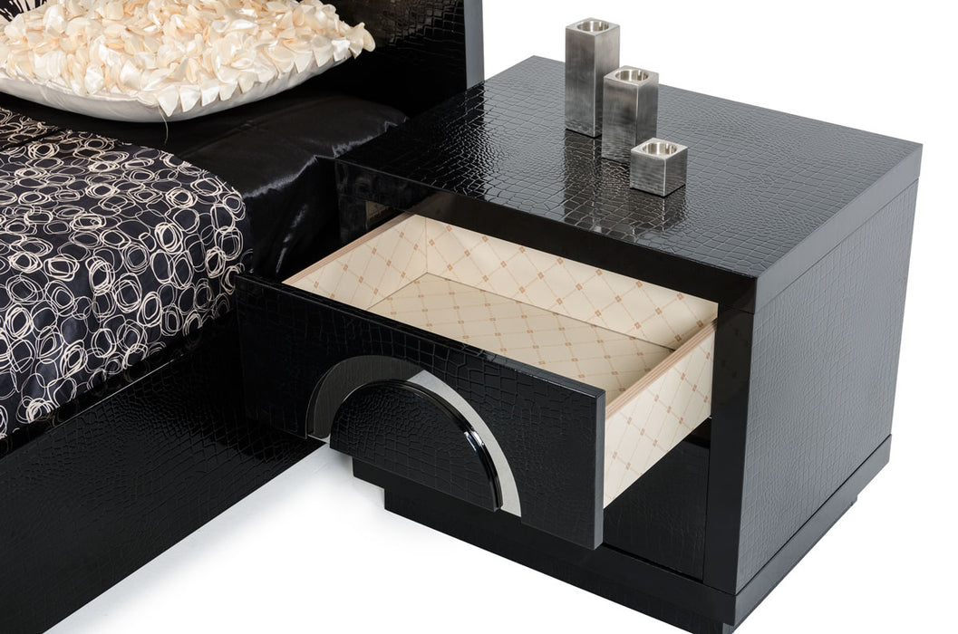 "HomeRoots Office 20"" Black Crocodile MDF Nightstand"