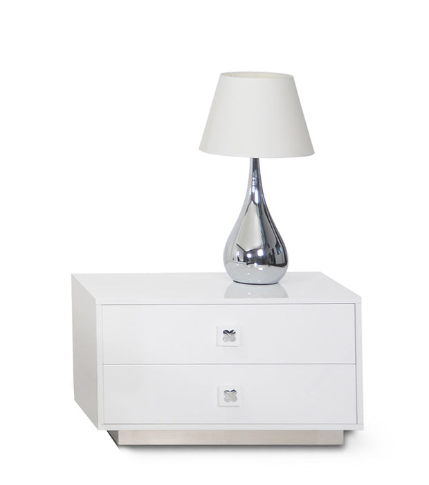 "HomeRoots Office 19"" White Gloss MDF Nightstand"