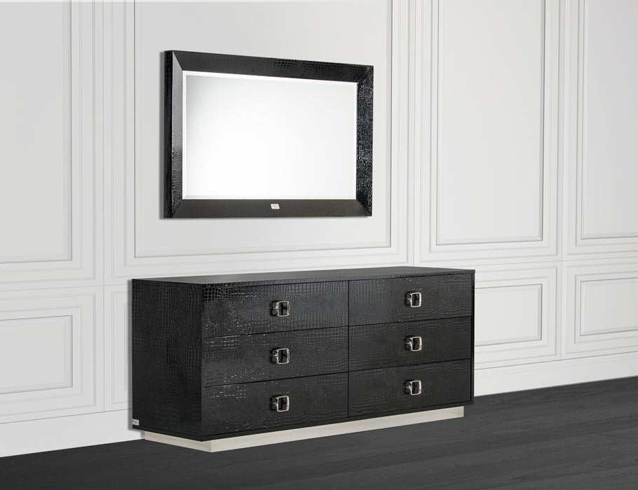 "HomeRoots Office 26"" Black Crocodile MDF Dresser"