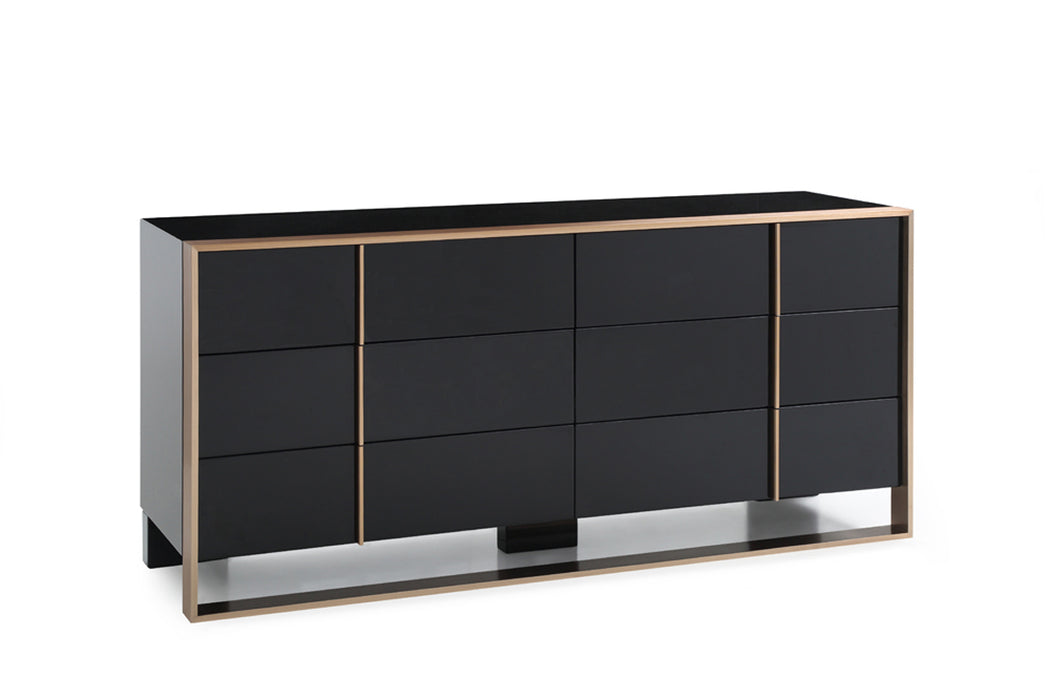"HomeRoots Office 29"" Black and Brushed Bronze Dresser"