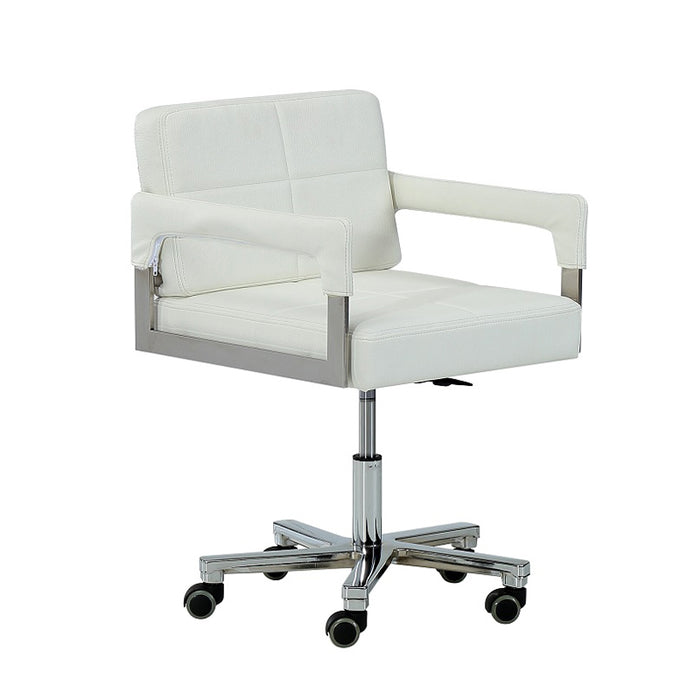 "HomeRoots Office 29"" White Bonded Leather and Steel Office Chair"