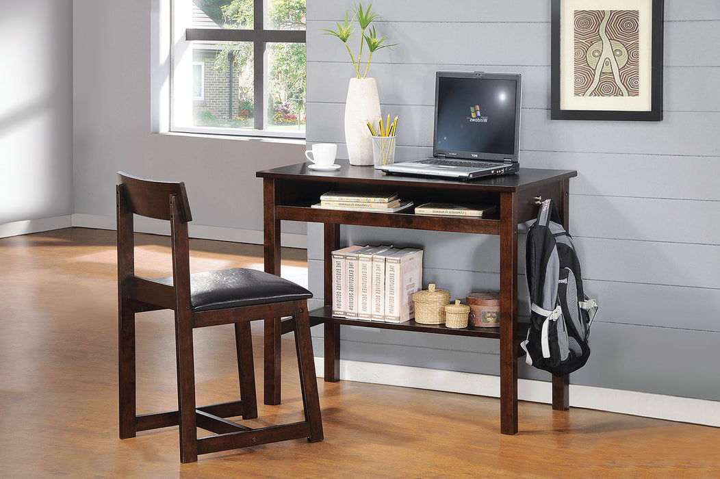 "HomeRoots Office 35"" X 35"" X 35"" 2Pc Black Pu And Espresso Pack Desk And Chair"